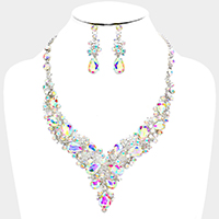 Marquise Crystal Glass Teardrop Cluster Bib Evening Necklace