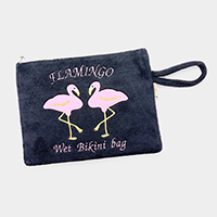 Flamingo Wet Bikini Beach Wrist Clutch Bag