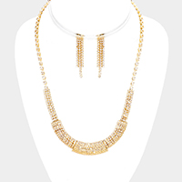 Curved Cubic Zirconia Pave Necklace