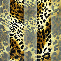 Satin Striped Leopard Print Scarf