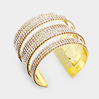 Rhinestone Embellished Cut Out Cage Cuff Bracelet