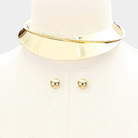 Rhinestone Embellished Metal Collar Choker Necklace
