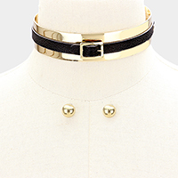 Belt Detail Metal Choker Necklace
