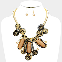 Cord Wire Wrapped Triple Oval Accent Statement Bib Necklace