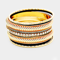 9PCS Rhinestone Embellished Bangle Bracelets