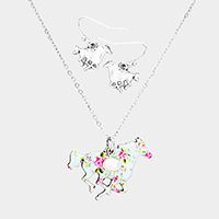 Flower Pattern Running Horse Pendant Pearl Necklace