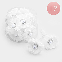 12PCS - Flower Faux Pearl Centered Mini Hair Comb Pins