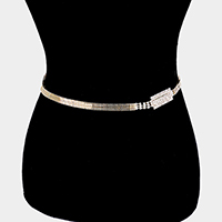 Crystal Rhinestone Pave Rectangle Accented Chain Belt