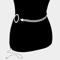 Braided Rhinestone Pave Hoop Accented Chain Belt