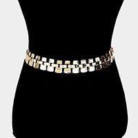 Curved Metal Rectangle Cluster Chain Belt