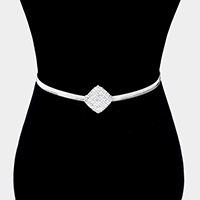 Rhinestone Pave Square Centered Stretch Chain Belt
