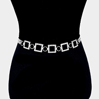 Stone Trim Square Link Chain Belt