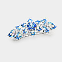 Bubble Stone Pave Flower Leaf Barrette