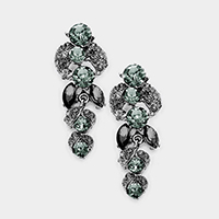 Marquise Stone Leaf Evening Earrings