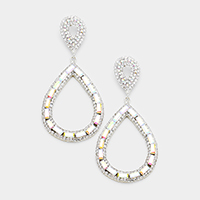 Marquise Stone Pave Teardrop Hoop Evening Earrings