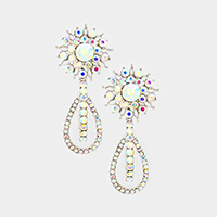 Marquise Pave Sunflower Double Teardrop Evening Earrings