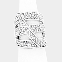 Crystal Rhinestone Pave Cut Out Cage Stretch Ring