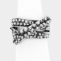 Crisscross Crystal Rhinestone Pave Stretch Ring
