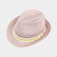 Two Tone Band Straw fedora Hat