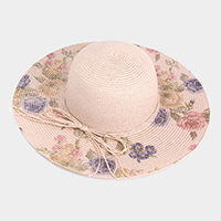 Flower Print Cord Bow Straw Floppy Hat
