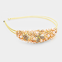 Pearl Stone Pave Flower Butterfly Metal Headband
