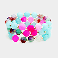 3Layers Colorful Semi Precious Beaded Stretch Bracelet