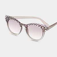 Crystal Embellished Detail Cat Eyes Sunglass