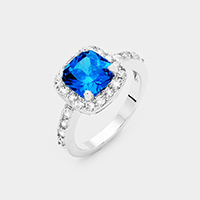 Rhodium Square Cubic Zirconia Halo Statement Ring