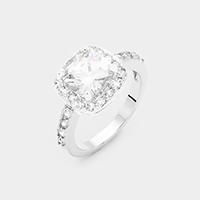 Rhodium Plated Cubic Zirconia Square Ring