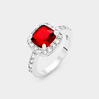 Rhodium Plated Square Cubic Zirconia Halo Statement Ring