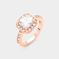 Rose Gold Plated Square Cubic Zirconia Halo Statement Ring