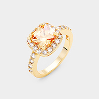 Gold Plated Cubic Zirconia Square Ring