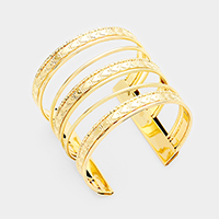 Textured Metal Cut Out Cage Cuff Bracelet
