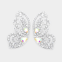 Marquise Stone Pave Butterfly Evening Earrings