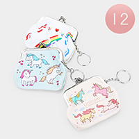 12PCS - Unicorn Print Coin Clasp Purses With Key Chain