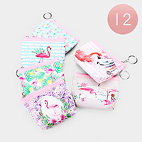 12PCS - Flamingo Print Coin Zipper Purses Key Chain