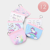 12PCS - Unicorn Print Coin Clasp Purses Key Chain