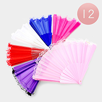 12PCS - Solid Lace Detail Folding Fans