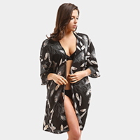 Feather Pattern Print Cover Up Poncho