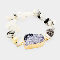 Beaded Genuine Druzy Accented Stretch Bracelet
