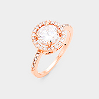 Rose Gold Plated Round Cubic Zirconia Ring