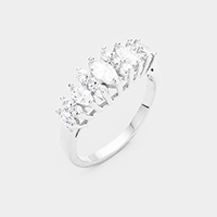Rhodium Plated Cubic Zirconia Ring