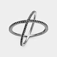 Black Rhodium Plated Cubic Zirconia Crisscross Ring