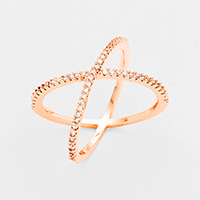 18K Rose Gold Plated Cubic Zirconia Crisscross Ring