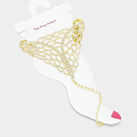 Crystal Rhinestone Net Anklet with Toe Ring Foot Chain