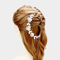 Stone Pave Flower Leaf Cluster Bun Wrap Headpiece