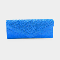 Pleated Detail Glitter Evening Clutch Bag
