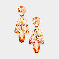 Marquise Crystal Oval Cluster Leaf Evening Earrings
