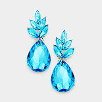 Crystal Oval Cluster Leaf Teardrop Dangle Evening Earrings