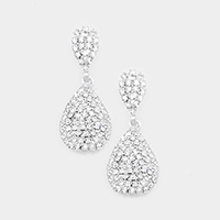 Crystal Rhinestone Pave Teardrop Evening Earrings